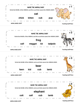 ANIMAL BABIES Names | 28 Colorful Game Cards |Teacher Reference | Gr 3-4 CORE