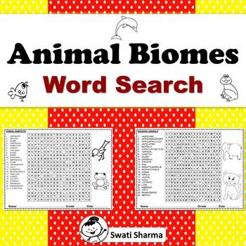 ANIMAL BIOMES HABITATS WORD SEARCH