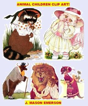 ARTS, ELEMENTARY THEMING: ANIMAL CHILDREN CLIP ART (90 public domain images)