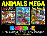 ANIMALS CLIPART BUNDLE: FARM clipart, ZOO Clipart, SEA LIFE animals CLIP ART