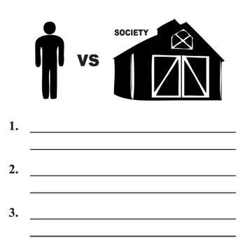 ANIMAL FARM Conflict Graphic Organizer - 6 Types of Conflict