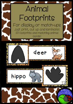 ANIMAL FOOTPRINTS matching MATCH UP CARDS for display or as a puzzle