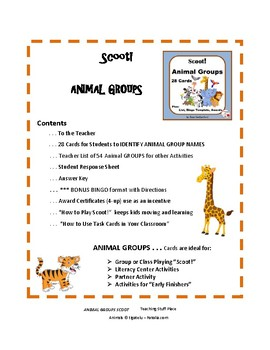 ANIMAL GROUPS | 54 Group Names | 28 Colorful Task Cards | Teacher Reference