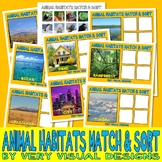 ANIMAL HABITATS MATCH SORT LOTTO w/ 60 PECS PICTURE CARDS autism speech therapy