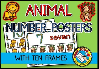 ZOO ANIMAL NUMBER POSTERS: ANIMAL TEN FRAME POSTERS: MATH POSTERS: 10 FRAMES
