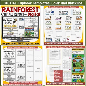 ANIMAL REPORT RAINFOREST ANIMALS INFORMATIVE WRITING RESEARCH TEMPLATES
