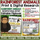 RAINFOREST ANIMALS REPORT: INFORMATIVE RESEARCH TEMPLATES PRINT & DIGITAL