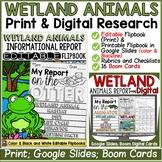 WETLANDS ANIMALS RESEARCH TEMPLATES: PRINT & DIGITAL- GOOGLE DRIVE-BOOM CARDS