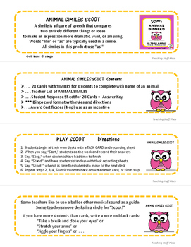 ANIMAL SIMILES | TASK CARDS | Review Similes | LIST | SCOOT GAME  | Gr 3-4-5