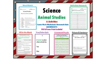 ANIMAL STUDIES- Six Activities (No Prep)-Vocabulary, PP, C