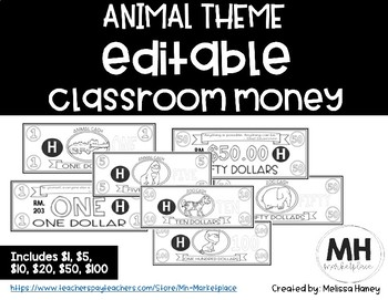 ANIMAL THEME - Classroom Money - EDITABLE