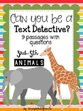 ANIMAL themed TEXT EVIDENCE DETECTIVES Reading Passages with questions
