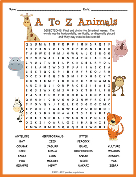 abc animals word search puzzle by puzzles to print tpt. Black Bedroom Furniture Sets. Home Design Ideas