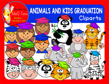 ANIMALS AND KIDS GRADUATION CLIPART