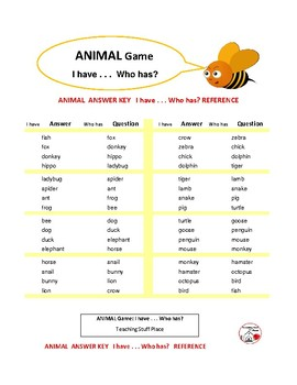 ANIMAL GAME ... I Have ... Who Has? Set 1 ... Grades 1-2