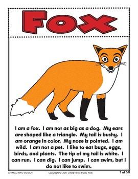 ANIMALS! Informational Passages & Comprehension Questions (Grades K-1st)