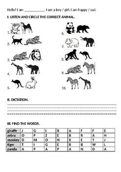 ANIMALS. Lesson Plan + Worksheet