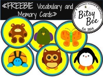 """FREEBIE """"ANIMALS  MEMORY GAME AND MATCH CARDS."""""""