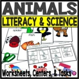 Animals ELA and SCIENCE Classification Worksheets and Task Cards