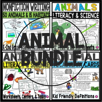https://www.teacherspayteachers.com/Product/Animals-Literacy-and-Science-Activities-Kindergarten-First-Grade-Science-BUNDLE-2937780