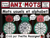 ANIMOTS (French Poke Cards, Cartes à trous) mots usuels et alphabet