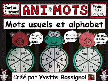 ANIMOTS (French Poke Cards, Cartes à trous) mots usuels et