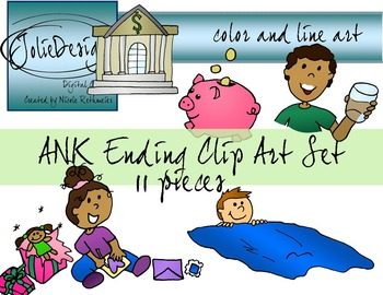 ANK Ending Phonics Clipart Set - Color and Line Art 11 pc set