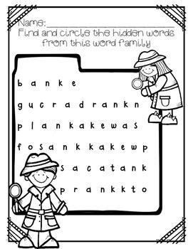 -ank word family