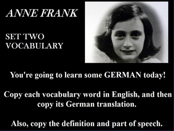 ANNE FRANK PLAY SET TWO VOCABULARY