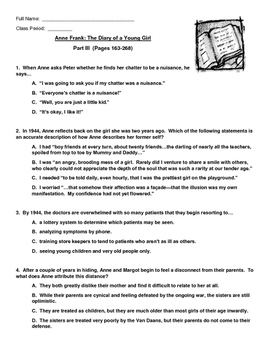 ANNE FRANK: THE DIARY OF A YOUNG GIRL Close Reading Test, Part III