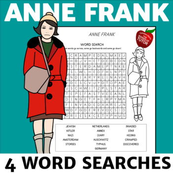 ANNE FRANK WORD SEARCH {ANNE FRANK ACTIVITIES}