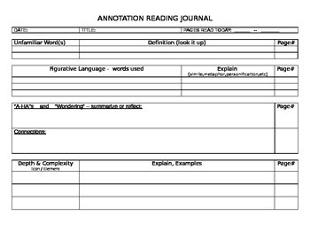 ANNOTATION ANNOTATING JOURNAL PAGE READING DEPTH COMPLEXITY LANGUAGE ARTS GIFTED