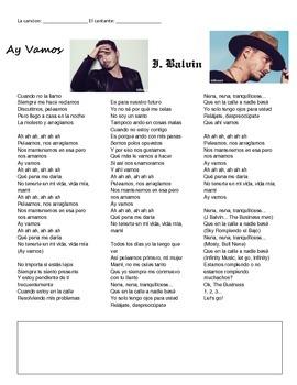 ANSWER KEY// Ay vamos by J. Balvin