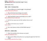 ANSWER KEY for The War of 1812 Movie Guide