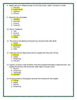 ANSWERS Ancient Egypt Vocab quiz