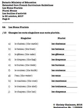 ANSWERS - DOCX - CORE FRENCH - Gr. 5 - Ont. Min. of Ed. - April 10, 2018