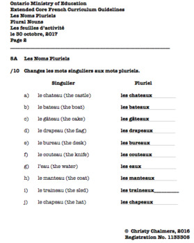 ANSWERS - PAGES - CORE FRENCH - Gr. 5 - Ont. Min. of Ed. - April 10, 2018