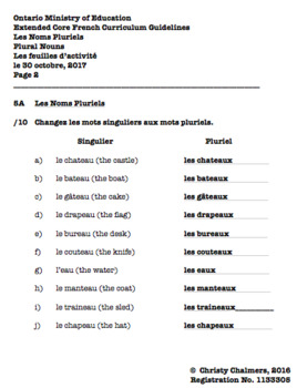 ANSWERS - PDF - CORE FRENCH - Gr. 5 - Ont. Min. of Ed. - April 10, 2018