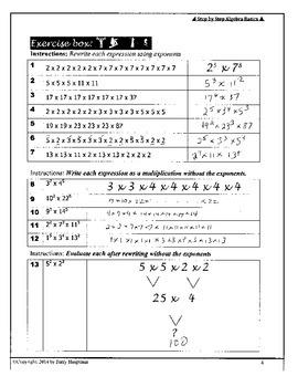 ANSWERS: Step by Step Algebra Basics DRAFT only.