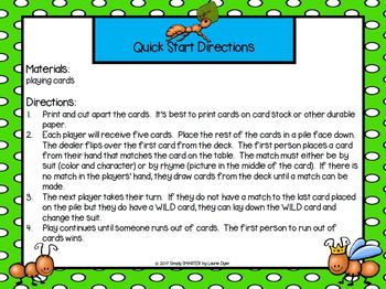 ANT-O:  LOW PREP Bug Themed Rhyming UNO Style Game