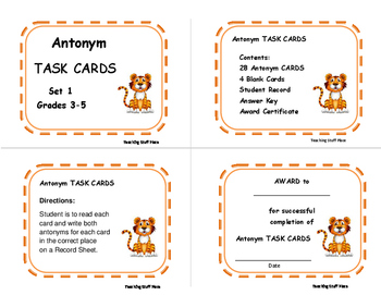 ANTONYMS | PRACTICE | TASK CARD  Game | Antonym Lists | Vocabulary | Gr 3,4,5