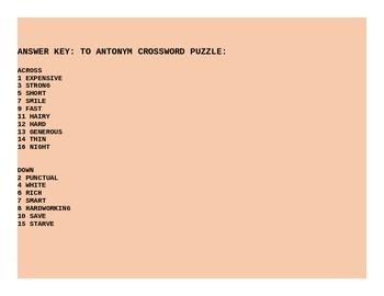 ANTONYM CROSSWORD PUZZLE GRADES 3-6