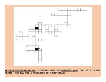 ANTONYM CROSSWORD PUZZLE GRADES 3-6