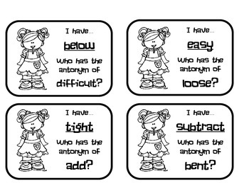 "ANTONYMS ""I Have...Who Has?"" Games Bundle: PRINTER FRIENDLY"