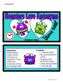 ANTONYMS: Literacy Center,  Antonyms Activity, Grammar Activity, Vocabulary