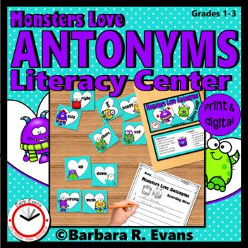 ANTONYMS LITERACY CENTER Monster Antonyms Activity Grammar Activity Vocabulary