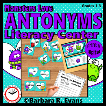 ANTONYMS LITERACY CENTER Monster Antonyms Activity Word Work Grammar ...