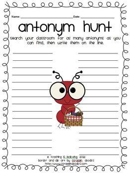 ANTonym Hunt Worksheet - FREEBIE