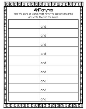 ANTonyms ~ Memory ~ Matching ~ Read and Write the Room