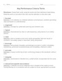 Keys to Literacy | ANSWER Key Routine | Key Performance Criteria Terms & Quiz
